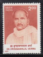 India MNH 1997, Vrindavanlal Verma, Novelist, Writer, Playwrite, - India
