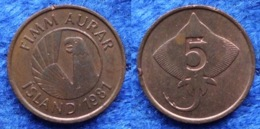 "ICELAND - 5 Aurar 1981 ""skate"" KM# 24 Monetary Reform (1981) - Edelweiss Coins - Islandia"