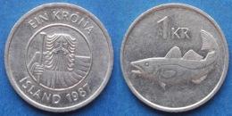 """ICELAND - 1 Krona 1987 """"cod"""" KM# 27 Republic (1944) - Edelweiss Coins - Island"""