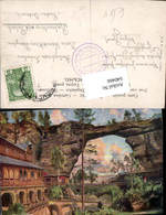 640466,Künstler AK Böhmische Schweiz Hrensko Herrnskretschen Prebischtor - Cartoline