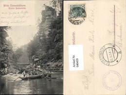 640459,Böhmische Schweiz Hrensko Herrnskretschen Edmundsklamm Boot - Cartoline