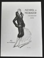 MENDEL NEUBAUER 1928 FOURRURES ART DECO MODE PUBLICITE ANCIENNE PARIS FOURRURE FOURREUR ANTIQUE ADVERTISING FUR FURS - Pubblicitari