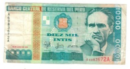 Peru 10000 Intis, 1988. VF+. - Perú