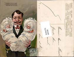 642100,Scherz Humor Zwillinge Babys Mann Vater Schnauzbart Bart Präge Litho - Humor