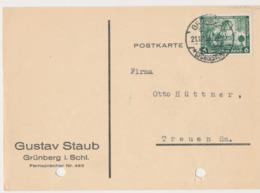 Firmenkarte Gustav Straub - 1933 - Grünberg Schlesien - Zielona Góra - Schlesien