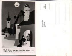 Scherz Humor Alkohol Trinkerhumor Ginzing Mond Mondgesicht Wein Heuriger RAINER Sign. - Humor
