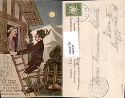 642038,Scherz Humor Mond Frau Fensterln Lithographie - Humor