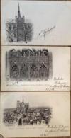 """3 CPA écrites En 1902, Amiens, La Cathédrale, """"vue Prise Du Beffroi"""",""""portail Latéral""""""""décapitation De St Jean"""", éd ND - Amiens"""