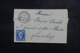 FRANCE - Lettre De Bethisy St Pierre Pour Chartres En 1860 , Affranchissement Napoléon PC 4176 - L 47852 - Marcophilie (Lettres)