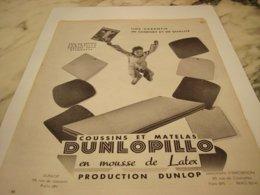 ANCIENNE   PUBLICITE MATELAS  DUNLOPILLO  1954 - Pubblicitari