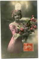 CPA - Carte Postale - Fantaisie - Femme - Bonne Année - Fleurs  (I10533) - Neujahr
