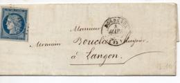 PETITE LETTRE DE BORDEAUX POUR LANGON - 1849-1850 Cérès