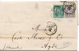 PETITE LETTRE DE MARSEILLE POUR AGDE - 1876-1878 Sage (Type I)