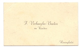 Visitekaartje - Carte Visite - F. Verhaeghe - Baelen & Kinders - Reningelst - Cartes De Visite