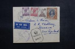 INDE - Enveloppe Du Travancore  Pour Genève En 1944 Avec Contrôle Postal, Affranchissement Plaisant - L 47860 - Inde (...-1947)