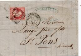 PETITE LETTRE DE MONTPELLIER POUR ST PONS - 1853-1860 Napoléon III