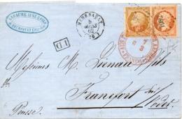 PETITE LETTRE DE MEURSAULT POUR FRANCFORT - 1853-1860 Napoléon III