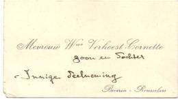 Visitekaartje - Carte Visite - Mevrouw Wwe Verhoest - Cornette - Beveren Roeselare - Cartes De Visite