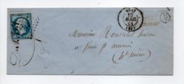 - Lettre GRAY Pour FRESNE-SAINT-MAMÈS (Haute-Saône) 19 AVRIL 1861 - 20 C. Bleu Napoléon III Losange PC 1448 - - Marcofilie (Brieven)