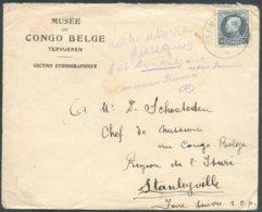 50c. Petit Montenez Obl. Sc TERVUEREN Sur Lettre En-tête MUSEE Du CONGO BELGE Section Ethnographique Vers Stanleyville ( - 1921-1925 Montenez Pequeño