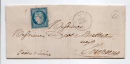 - Boite Rurale SAINT-GERMAIN Via LURE (Haute-Saône) Pour TOURNUS 10 AOUT 1871 - 20 C. Bleu Type Cérès Siège De Paris - - Marcofilie (Brieven)