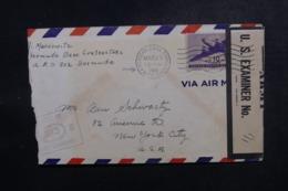 ETATS UNIS - Enveloppe De La Base Des Bermudes Pour New York En 1942 Avec Contrôle Postal - L 47871 - Marcophilie