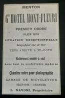 MENTON GRAND HOTEL MONT FLEURI 1907 GERANT NAVONI CHAMBRE NOIRE PHOTOGRAPHIE PUBLICITE ANCIENNE ANTIQUE AD RIVIERA LUXE - Publicités