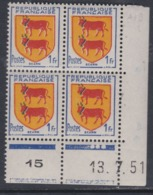 France N° 901 XX Armoiries De Provinces : Béarn En Bloc De 4 Coin Daté Du 13 . 7 . 51  3 Points Blancs Sans Charnière TB - Coins Datés