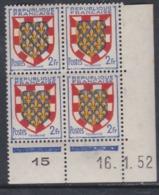 France N° 902 XX : Armoiries De Provinces : Tourraine  En Bloc De 4 Coin Daté Du 16 . 1 . 52 : 3 Points Blancs Ss Ch. TB - 1940-1949