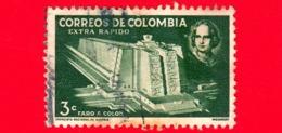 COLOMBIA - Usato -  1958 - Mausoleo A Cristoforo Colombo - 3 Extra Rapido - Colombia
