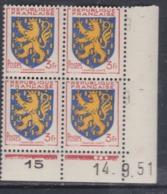 France N° 903 XX : Armoiries De Pro. : Franche-Comté En Bloc De 4 Coin Daté Du 14. 9 . 51 : 3 Points Blancs Sans Char.TB - 1940-1949