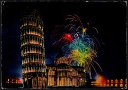 ITALIA - PISA - TORRE PENDENTE E ABSIDE DEL DUOMO - NOTTURNO - CARTOLINA VIAGGIATA - Pisa