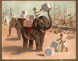 CHROMO HUNTLEY & PALMERS FABRICANTS DE BISCUITS READING & LONDRES  TRANSPORT A DOS D'ELEPHANTS - Altri