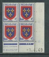 France N° 838 XX Armoiries : Anjou  En Bloc De 4 Coin Daté Du 1 . 4 . 49  ; 3 Points Blancs, Sans Charnière, TB - Coins Datés