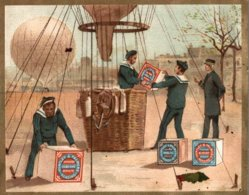 CHROMO HUNTLEY & PALMERS FABRICANTS DE BISCUITS READING & LONDRES  TRANSPORT EN MONTGOLFIERE - Altri