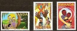 Rwanda Ruanda 2003 OBCn° 1415-1417 *** MNH  Cote Du Série Complète 1000 Euro AIDS SIDA  Une Valeur Manque! - Rwanda