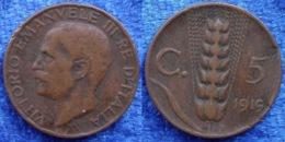 ITALY - 5 Centesimi 1919 R KM# 59 Vittorio Emanuele III (1900-1946) Bronze - Edelweiss Coins - Otros