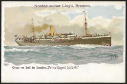 """1894 - WESTPREUßEN - Card - Bremen, Danzig - Norddeutscher Lloyd - """"Prinz Regent Luitpold"""" - Cartes Postales"""