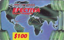 DOMINICAN REPUBLIC - Worldmap Red Band (1 Barcode), Tricom Prepaid Card 100$, Used - Dominik. Republik