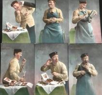 (1892) Der 6 Sinn : Gefühl - Blödsinn - Gesicht - Geruch - Gehör - Geschmack - Postkaarten