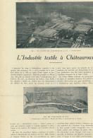 1926 : Document, CHATEAUROUX (36, INDRE), L'Industrie Textile, Usines Balsan, Atelier Des Cardes, Tissage, Filature - Oude Documenten