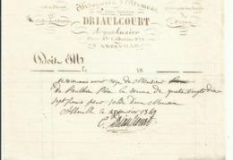 FACTURE ABBEVILLE 1849. DRIAULCOURT,ARQUEBUSIER RUE SAINTE CATHERINE - Francia