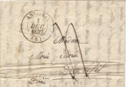 LT4825  Lettre Avec Courrier, Taxé De Annonay, Ardèche (6) Pour Dieu Lefit Du 1 Dec 1837 - Marcophilie (Lettres)