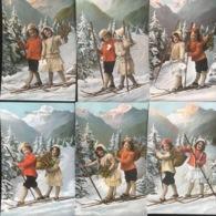 (1893) Bonne Année - Broer En Zus Op De Skilatten - Postkaarten