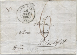LT4828  Lettre Avec Courrier, Taxé De Annonay, Ardèche (6) Pour Dieu Lefit Du 22 Juin 1837 - Marcophilie (Lettres)