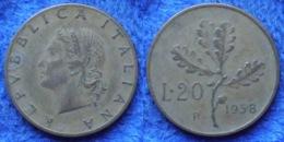 """ITALY - 20 Lire 1958 R """"oak Leaves"""" KM# 97.1 Republic - Edelweiss Coins - Sonstige"""