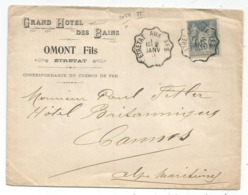 SAGE 15C CONVOYEUR ETRETAT A IFS 2 JANV 1901 LETTRE ENTETE GRAND HOTEL DES BAINS OMOT FILS - Storia Postale