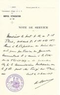 60-cachet Hôpital D'Evacuation N°16 De Creil Sur Note De Service à En-tête De L'Hôpital. - Marcofilie (Brieven)