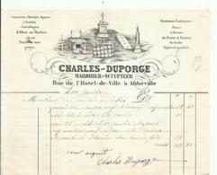 FACTURE ABBEVILLE 1849.CHARLES-DUPORGE MARBRIER SCULPTEUR RUE DE L HOTEL DE VILLE - Francia