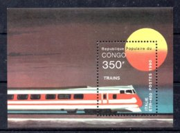 República Del Congo Hoja Bloque N ºMichel B54 ** TRENES (TRAIN) Valor Catálogo 10.0€ - Congo - Brazzaville